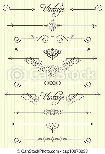 Elementos de diseño calígrafico y decoración de páginas - csp10078033