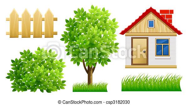 Elementos de jardín verde con casa y cerca - csp3182030