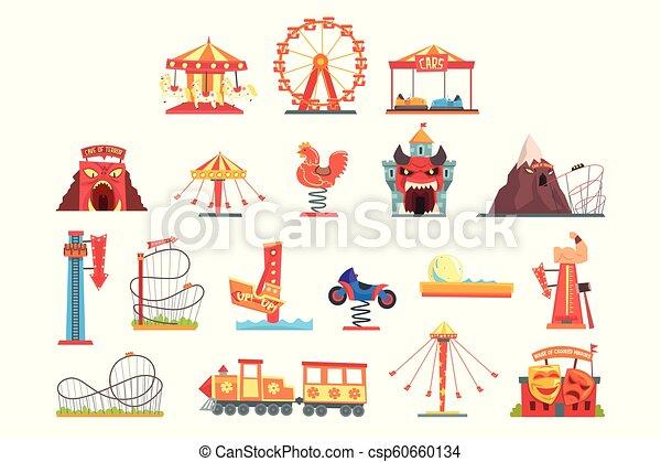 Elementos del parque de atracciones, atracción de la diversión vector de dibujos animados ilustraciones - csp60660134