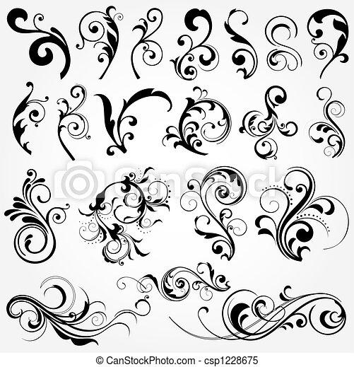 Elementos de diseño floral - csp1228675