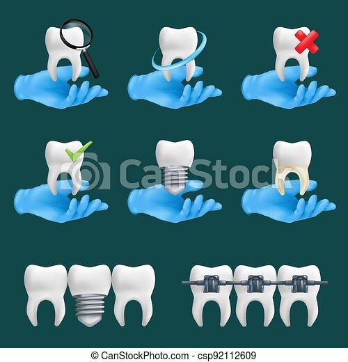 elementos, iconos, conjunto, tenencia, realista, vector, manos, diferente, cerámico, ilustración, dientes, services., protector, llevando, sitio web, guantes, dental, azul, vario, modelos, 3d, quirúrgico, dentista - csp92112609