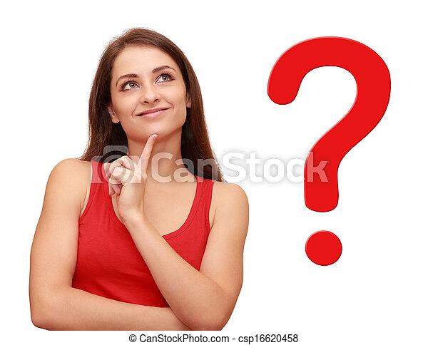 Chica pensante mirando hacia arriba con signo de pregunta roja cerca de ella - csp16620458
