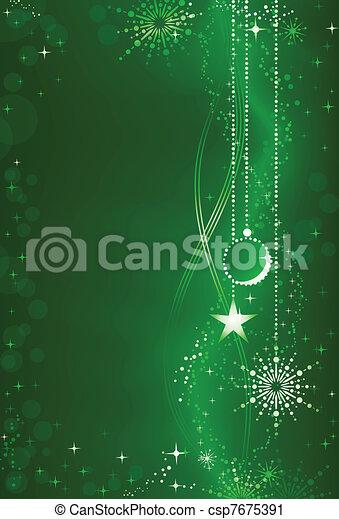 Abstraer el pasado de Navidad verde con adornos y adornos - csp7675391