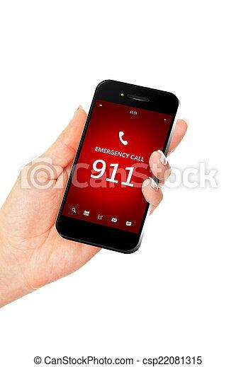 Teléfono móvil de mano con número de emergencia 911 - csp22081315