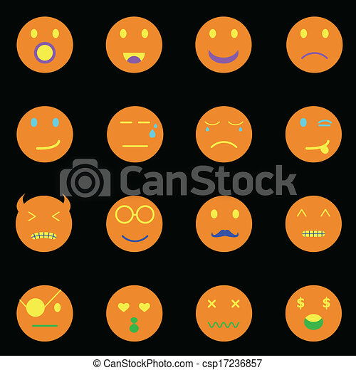 Iconos redondos de emoción en el fondo negro - csp17236857