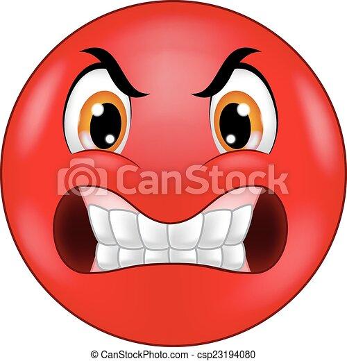 Dibujos animados de emoticonos furiosos - csp23194080
