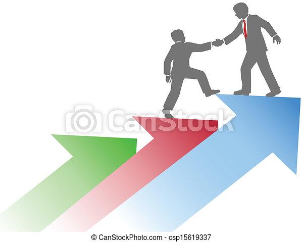 La gente de negocios ayuda a un equipo a tener éxito - csp15619337