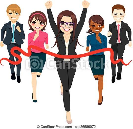 El concepto de éxito de grupo de negocios - csp36586072