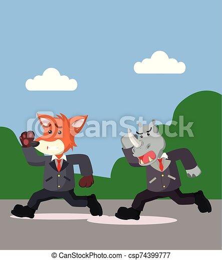 empresa / negocio, corra, rinoceronte, ilustración, vector, zorro - csp74399777