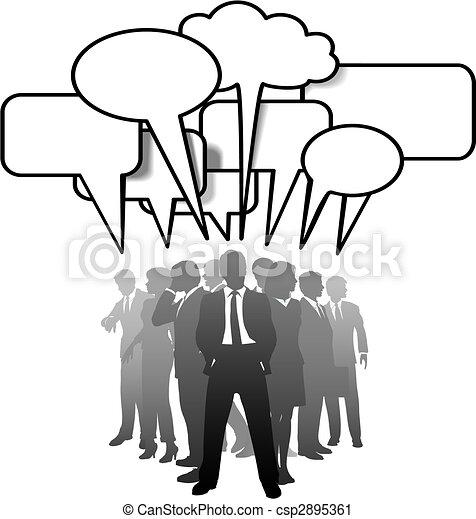 La gente de negocios habla de comunicarse en burbujas de habla - csp2895361