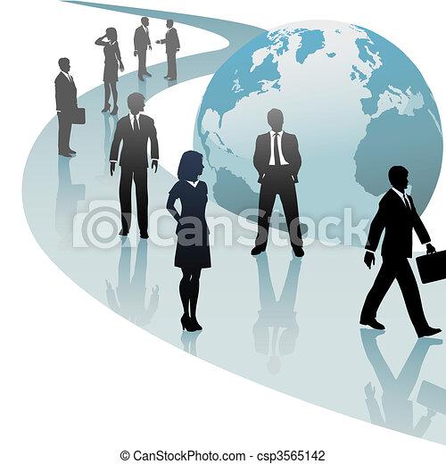 Los empresarios en el mundo del futuro siguen el progreso - csp3565142