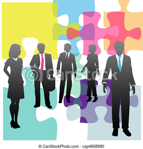 Gente de negocios, recursos humanos, problemas de solución - csp4608990