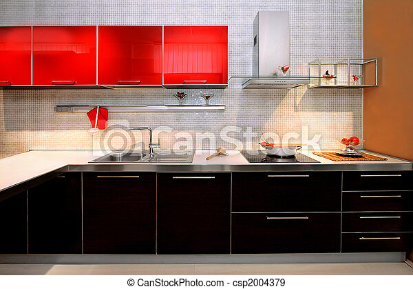En el mostrador de la cocina contemporánea - csp2004379