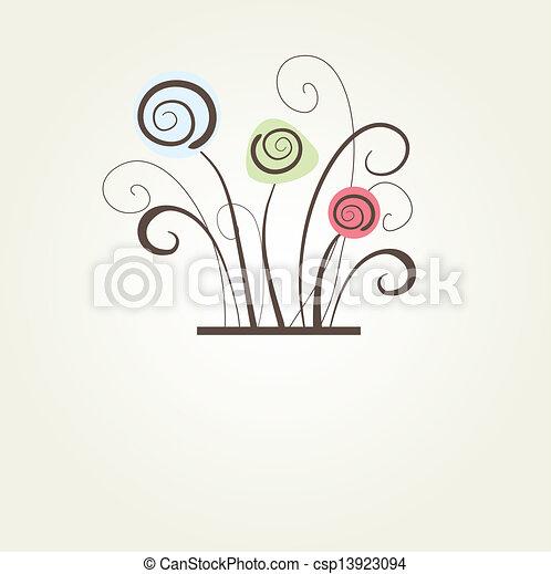 Encuadre vectorial antiguo en antecedentes florales - csp13923094