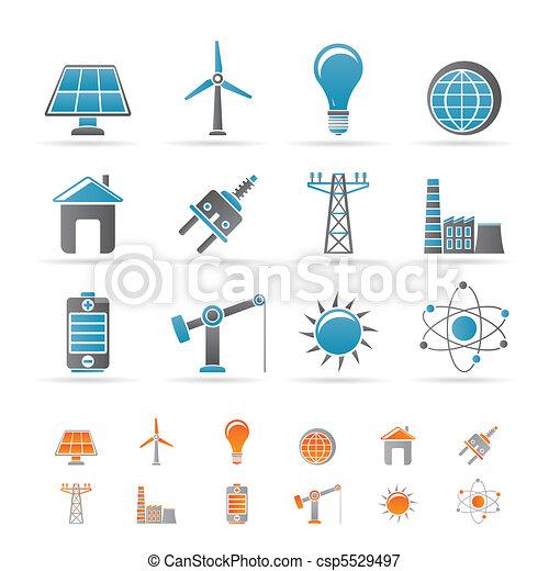Energía, energía y iconos eléctricos - csp5529497