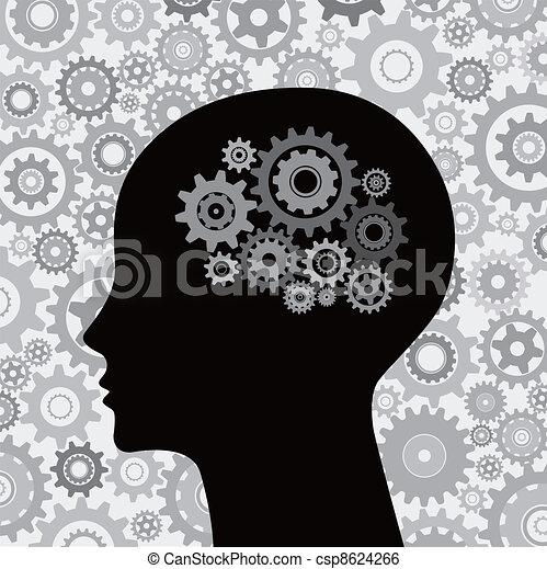 Engranajes de cabeza y cerebro - csp8624266