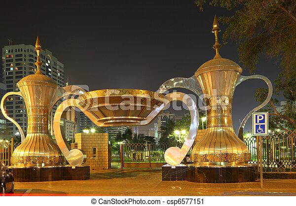 cafeteras árabes en la entrada del parque en Abu Dhabi - csp6577151