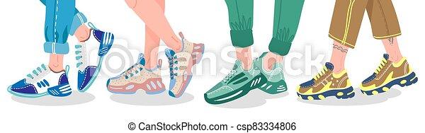 entrenadores, calzado, llevando, macho, sneakers., moda, vector, ilustración, hembra, moderno, o, zapatillas, gente, piernas, deporte, elegante - csp83334806