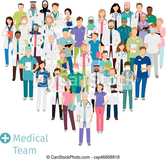 Equipo médico de salud en forma de corazón - csp46668918
