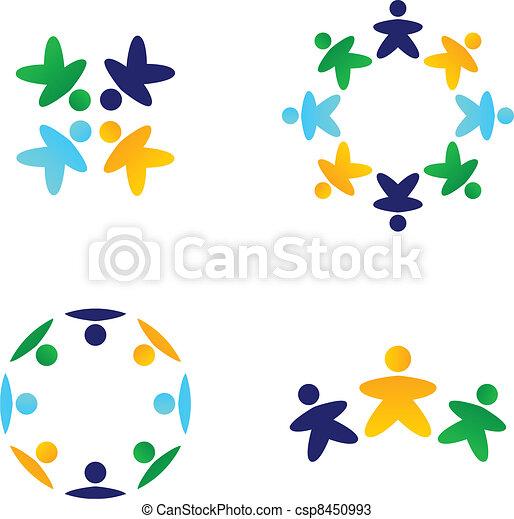 Equipos multiculturales que conectan con iconos - csp8450993