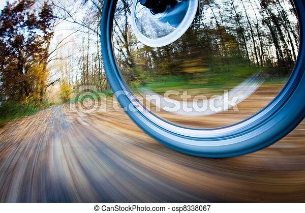 Cabalgando en bicicleta en un parque en un hermoso día de otoño y otoño - csp8338067
