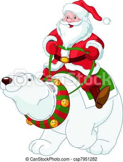 Santa Claus cabalgando sobre osos polares - csp7951282