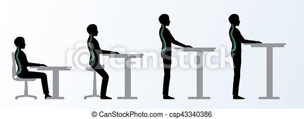 Ergonómico. Recepción de altura o poses de mesa - csp43340386