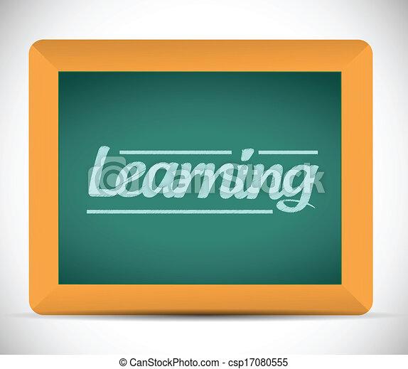 Mensaje de aprendizaje escrito en una pizarra. - csp17080555