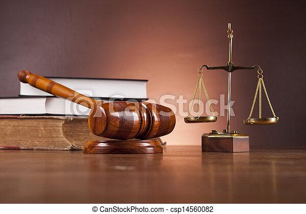 Un escritorio de madera en una firma de abogados - csp14560082