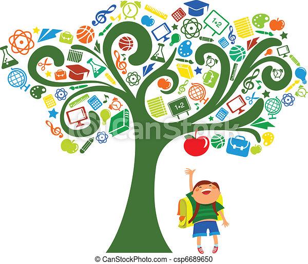 De vuelta a la escuela. Árbol con iconos educativos - csp6689650