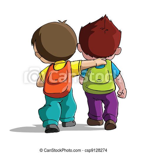 Los niños van a la escuela - csp9128274