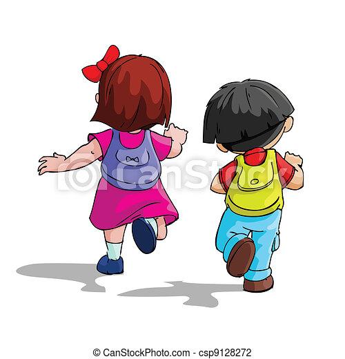 Los niños van a la escuela - csp9128272