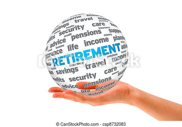 La mano sostiene una esfera de jubilación 3D - csp8732083