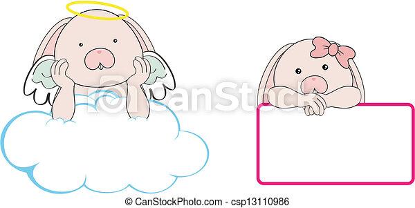 Espacio de dibujos animados de Bunny Angel - csp13110986