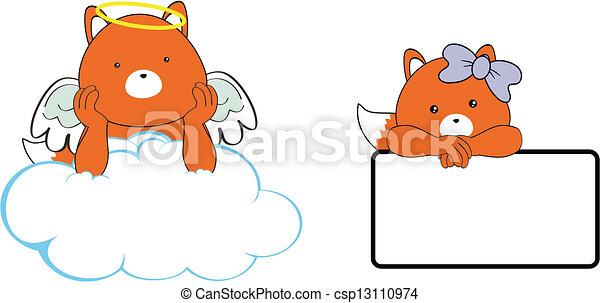 Espacio de dibujos animados de Fox Angel - csp13110974