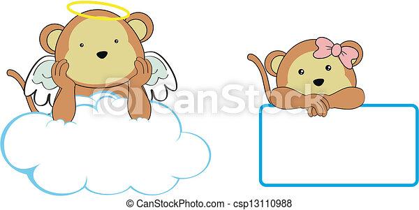 Espacio de dibujos animados del ángel mono - csp13110988