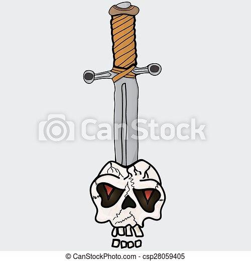 Espada en el cráneo - csp28059405