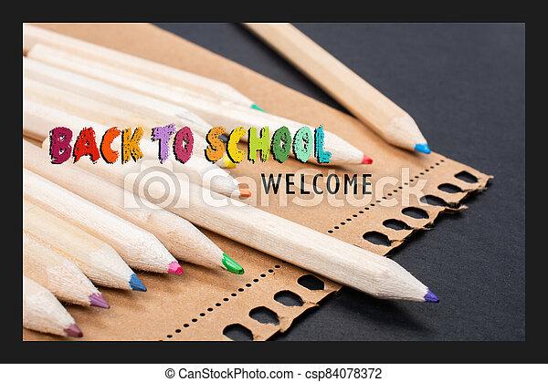 espalda, banner., theme., bienvenida, escuela, cartel, educación, diseño - csp84078372