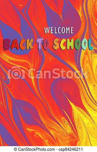 espalda, theme., bienvenida, cartel, escuela, banner., educación, diseño - csp84246211