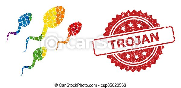 esperma, mosaico, células, estampilla, espectro, trojan, caucho - csp85020563
