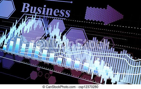 Estadísticas de negocios y analíticas, hojas resplandecientes estadísticas de intercambio en la oscuridad - csp12370280