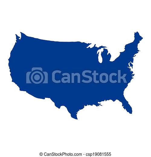 El mapa de Estados Unidos de América - csp19081555