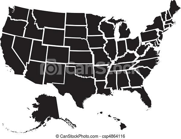 El mapa de Estados Unidos - csp4864116