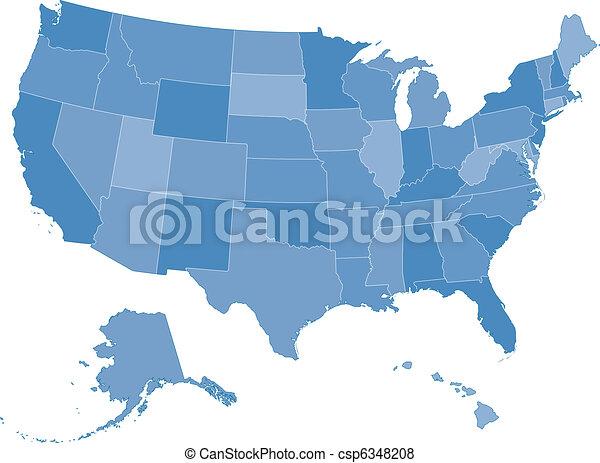 Mapa de los Estados Unidos - csp6348208