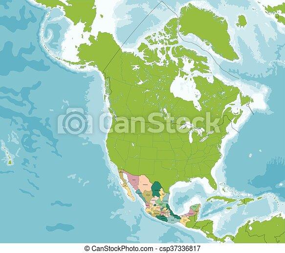 El mapa de estados mexicanos unidos - csp37336817