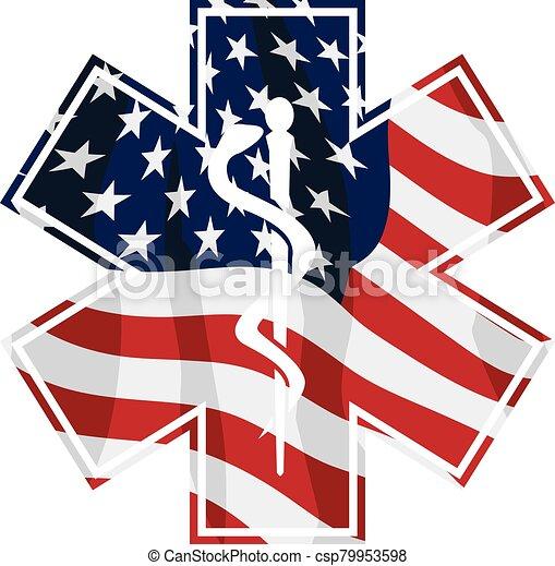 estados unidos de américa, símbolo médico, vector, servicio, emt, aislado, patriótico, ilustración, paramédico, cubrir, bandera - csp79953598