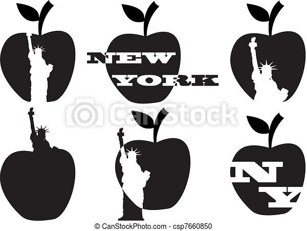 Gran manzana y estatua de la libertad - csp7660850