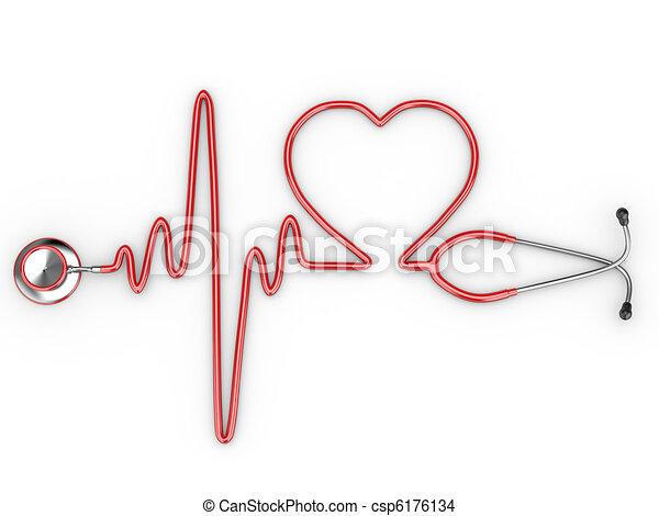 Estetoscopio y una silueta del corazón y ECG - csp6176134
