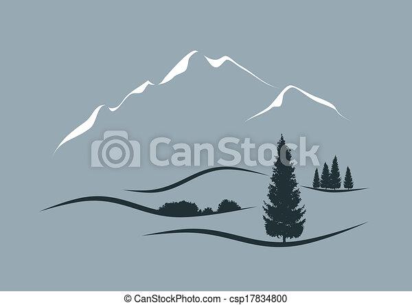Ilustración vectorial estilizada de un paisaje alpino - csp17834800