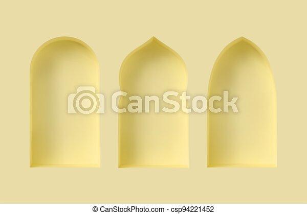 estilo, 3d, conjunto, árabe, windows. - csp94221452